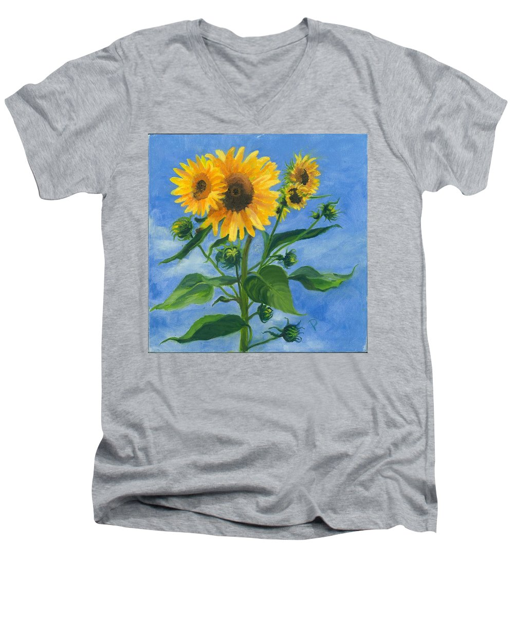 Flowers Men's V-Neck T-Shirt featuring the painting Sunflowers On Bauer Farm by Paula Emery