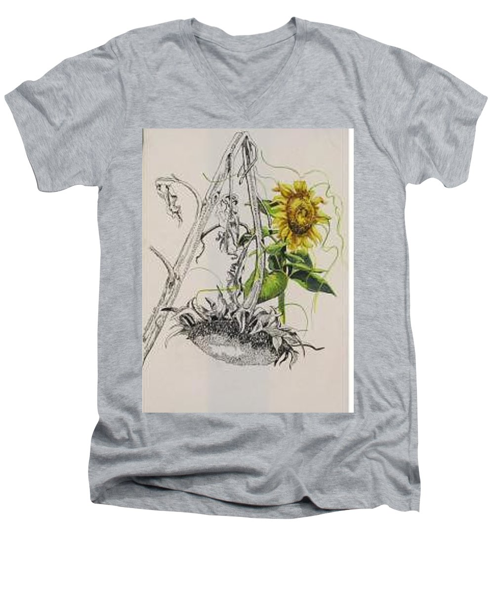 Large Sunflowers Featured Men's V-Neck T-Shirt featuring the painting Sunflowers by Wanda Dansereau