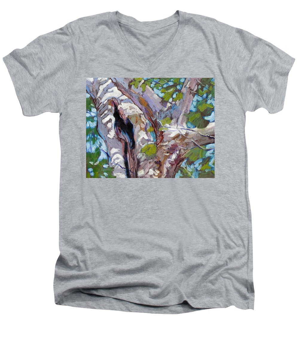 Tree Men's V-Neck T-Shirt featuring the painting Sunlight On Sycamore by John Lautermilch