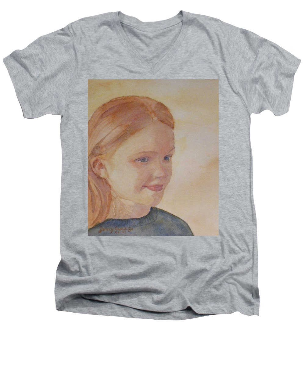 Girl Men's V-Neck T-Shirt featuring the painting Sunnie Birdie by Jenny Armitage