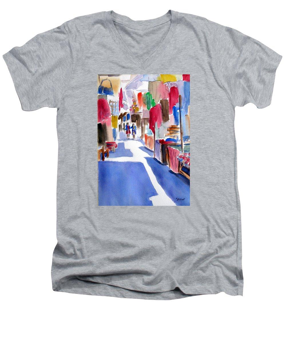 Market Men's V-Neck T-Shirt featuring the painting Sunny Day At The Market by Marsha Elliott