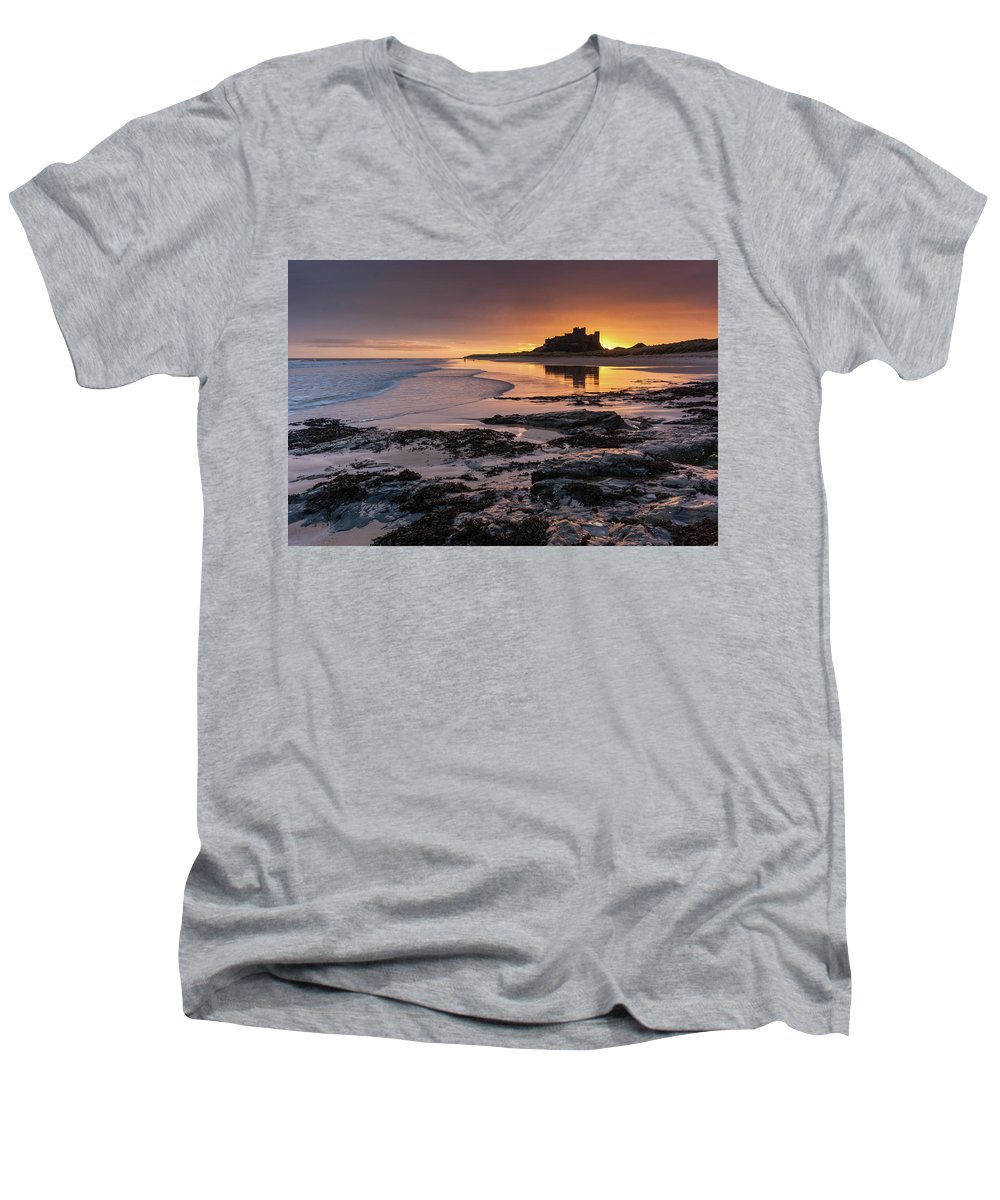 Sunrise Men's V-Neck T-Shirt featuring the photograph Sunrise At Bamburgh Castle #4, Northumberland, North East England by Anthony Lawlor