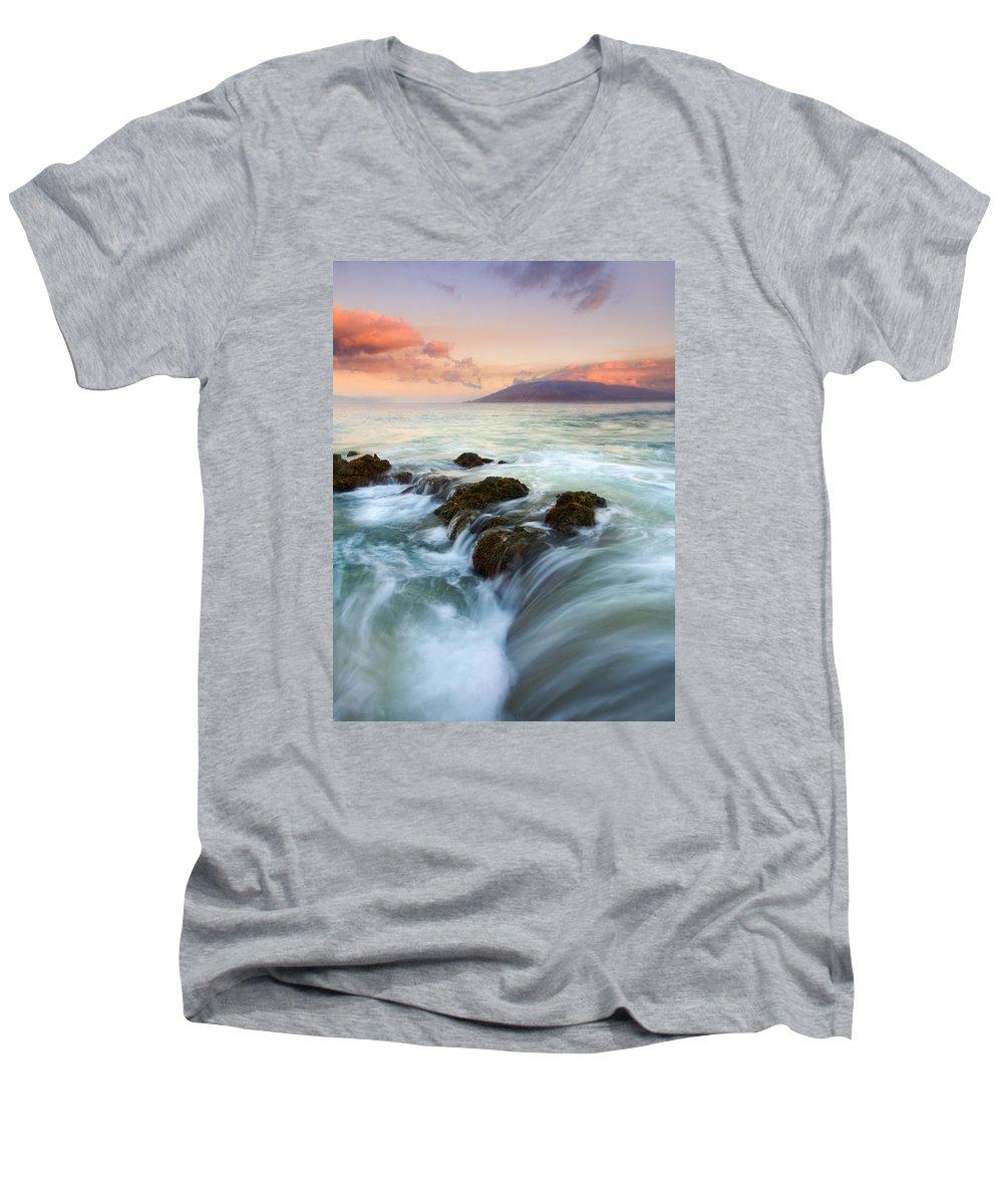 Sunrise Men's V-Neck T-Shirt featuring the photograph Sunrise Drain by Mike Dawson