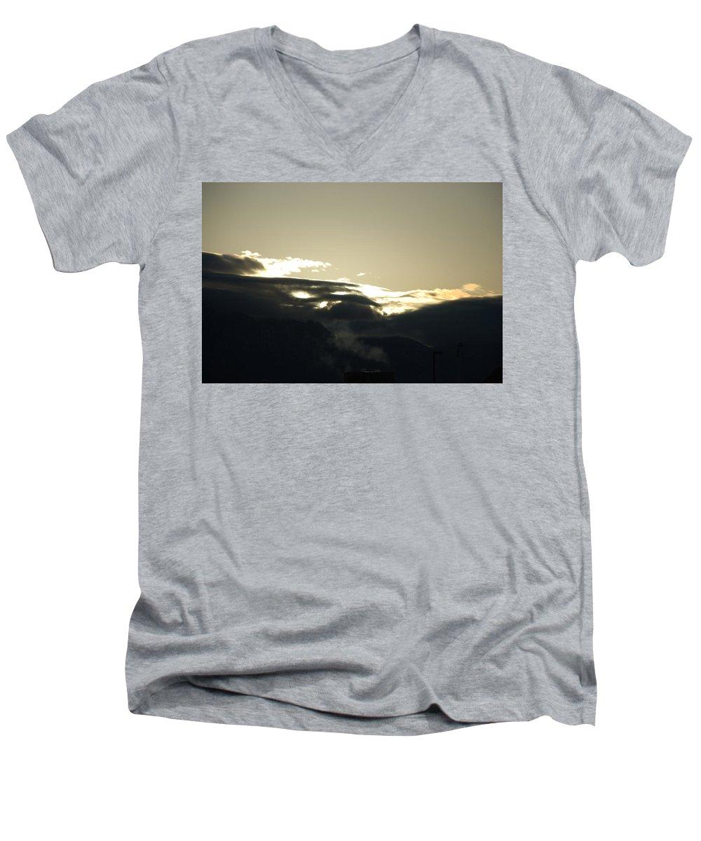 Sunrise Men's V-Neck T-Shirt featuring the photograph Sunrise Over The Sandias by Rob Hans