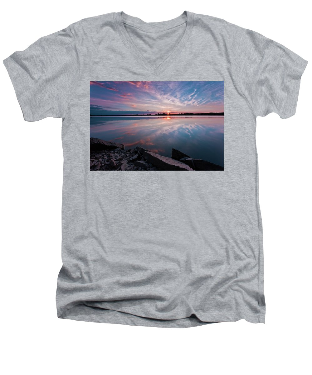 Sunrise Men's V-Neck T-Shirt featuring the photograph Sunset At Anglezarke Reservoir #1, Rivington, Lancashire, North West England by Anthony Lawlor