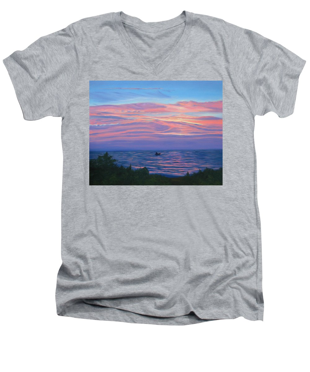 Seascape Men's V-Neck T-Shirt featuring the painting Sunset Bay by Lea Novak