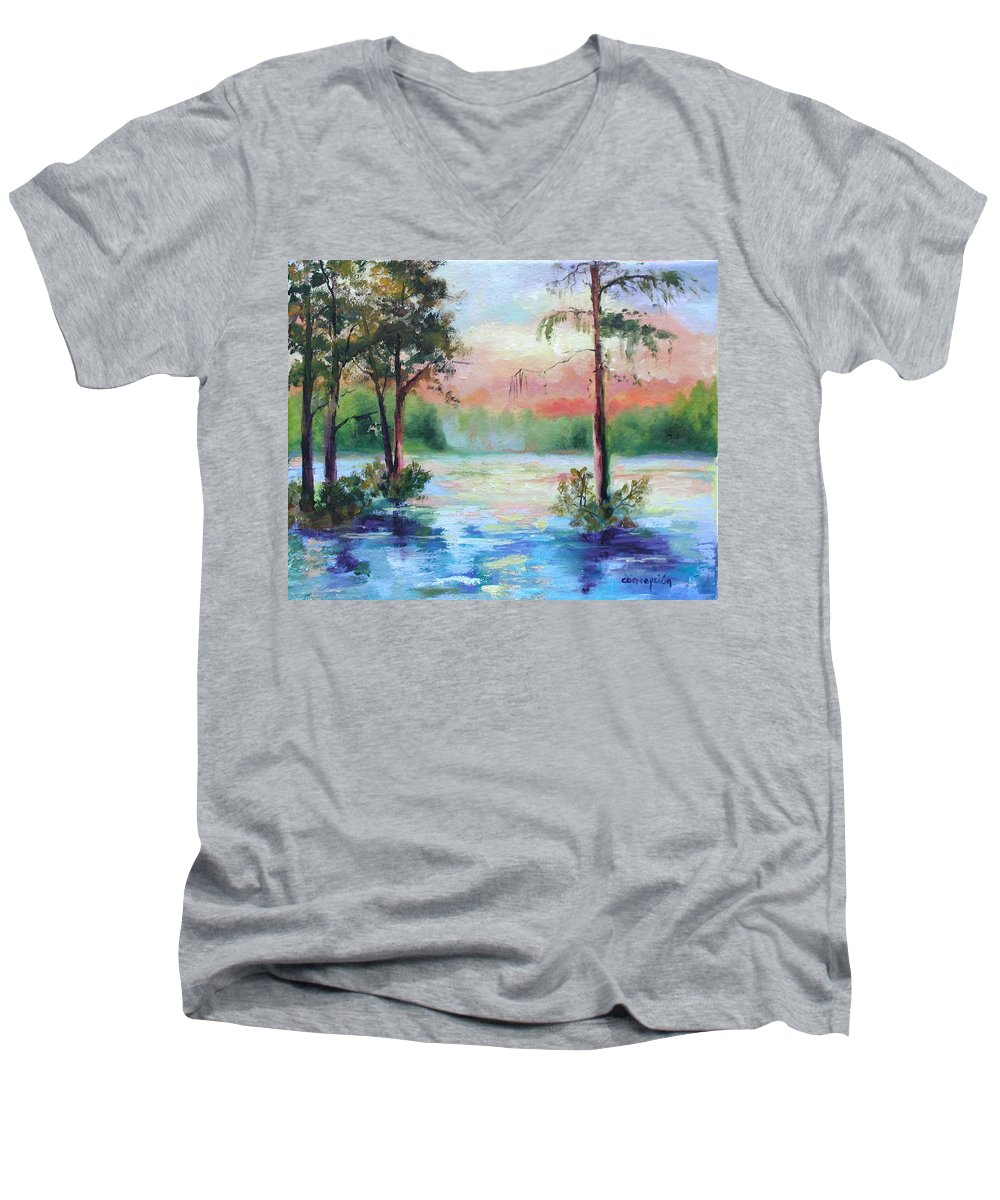 Sunset Men's V-Neck T-Shirt featuring the painting Sunset Bayou by Ginger Concepcion