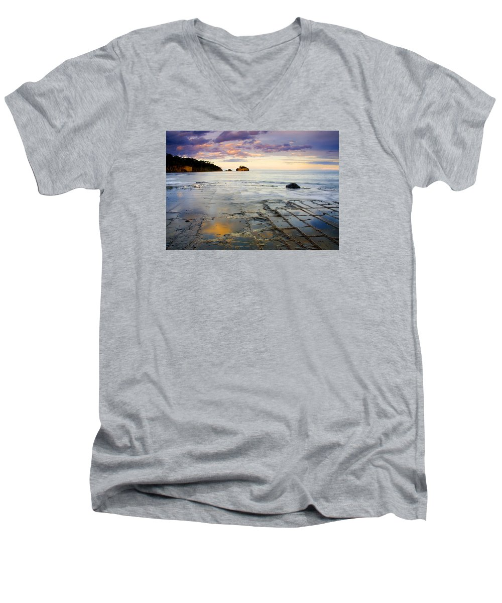 Tesselated Pavement Men's V-Neck T-Shirt featuring the photograph Sunset Grid by Mike Dawson