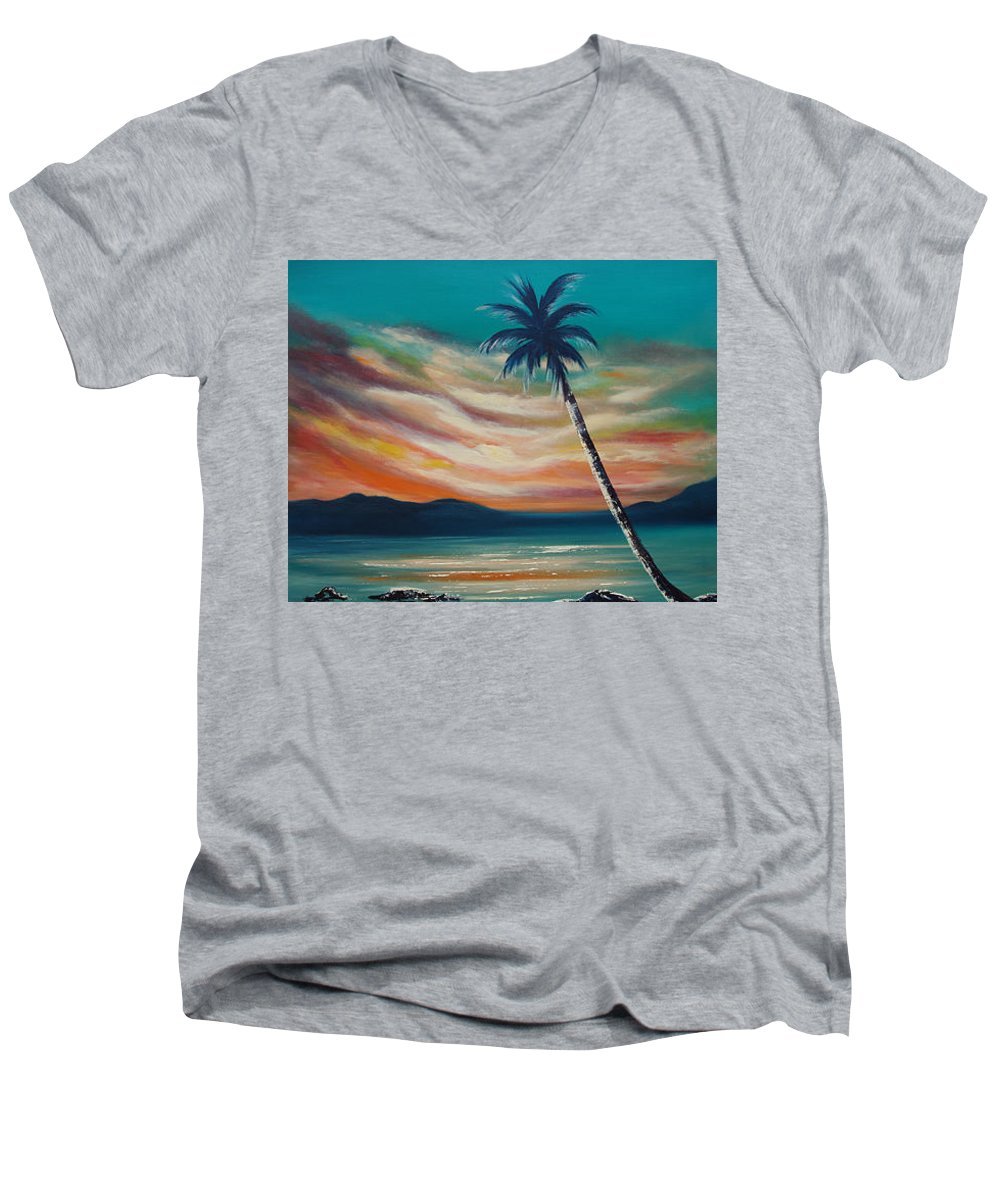 Sunset Men's V-Neck T-Shirt featuring the painting Sunset In Paradise by Gina De Gorna