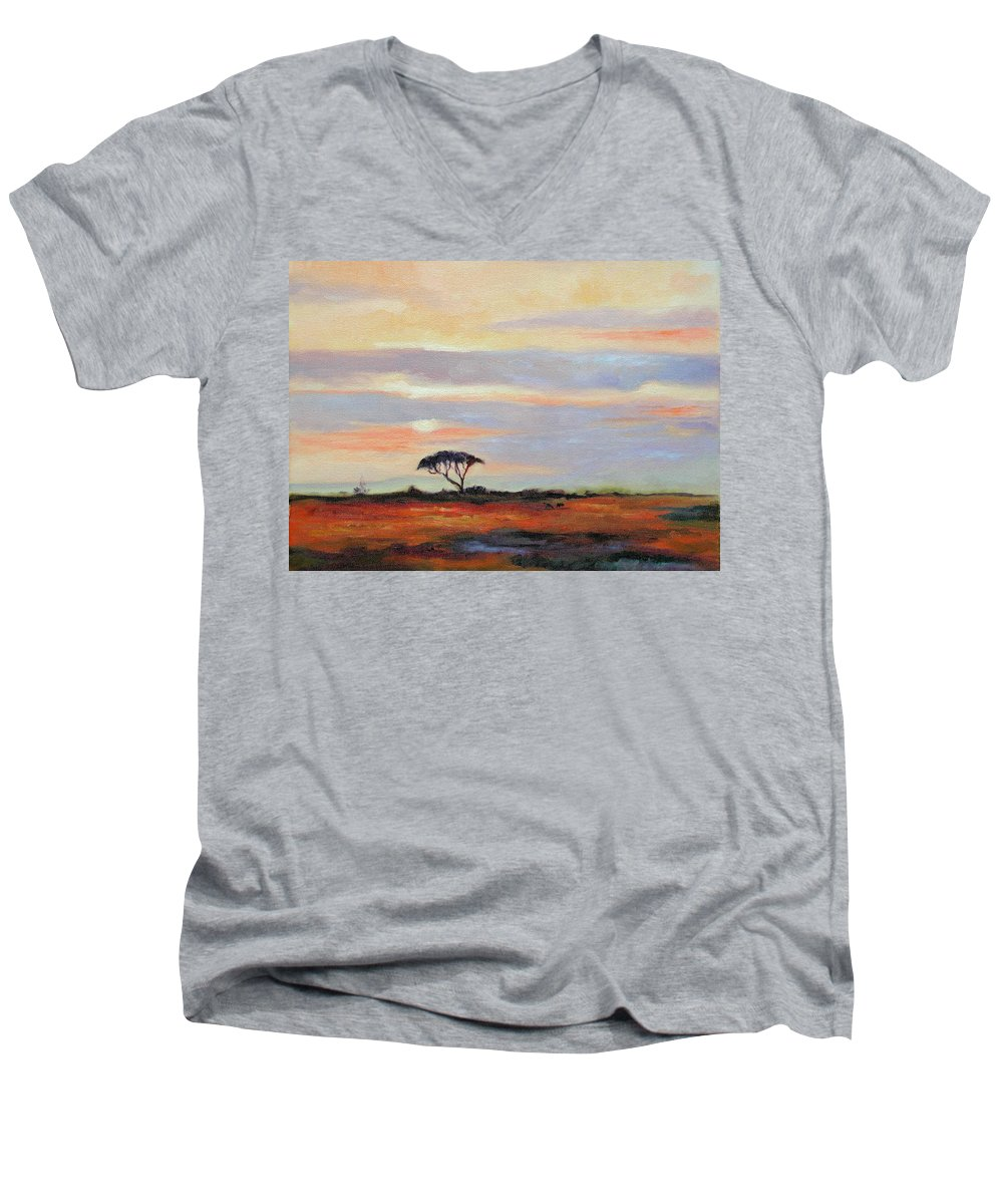 Landscape Men's V-Neck T-Shirt featuring the painting Sunset On The Serengheti by Ginger Concepcion