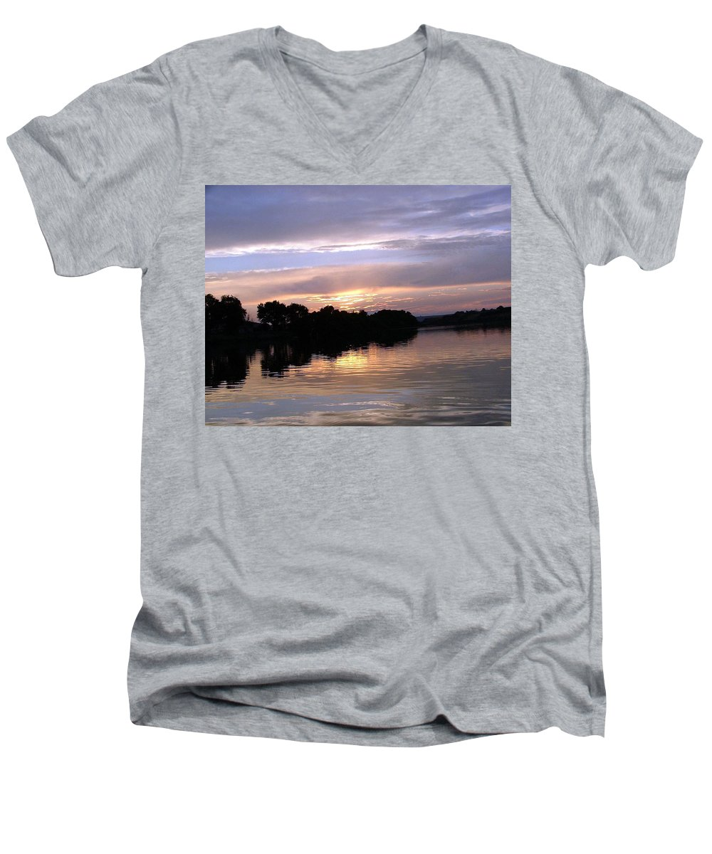Snake River Men's V-Neck T-Shirt featuring the photograph Sunset On The Snake by Dawn Blair