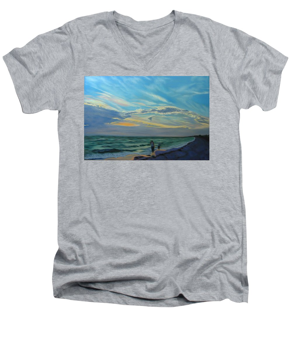 Seascape Men's V-Neck T-Shirt featuring the painting Sunset Treasure Hunt by Lea Novak