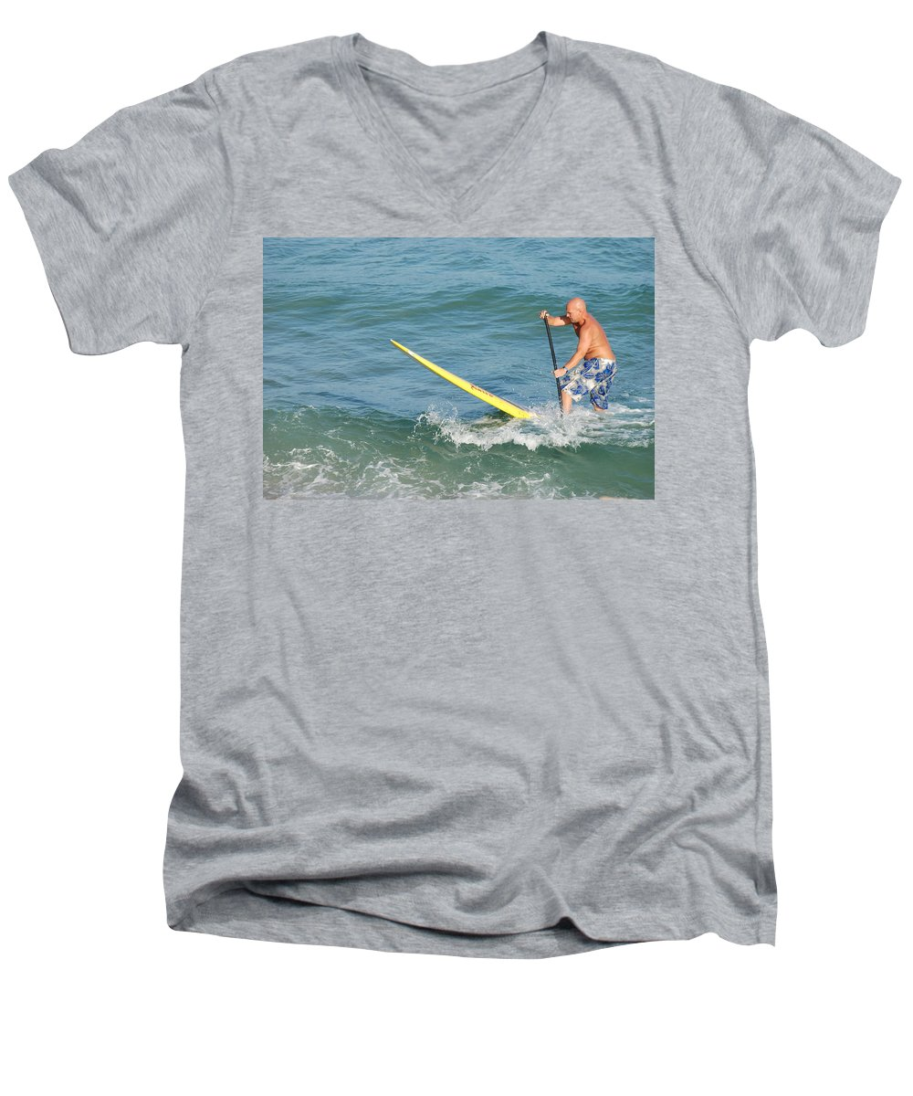 Sea Scape Men's V-Neck T-Shirt featuring the photograph Surfer Dude by Rob Hans