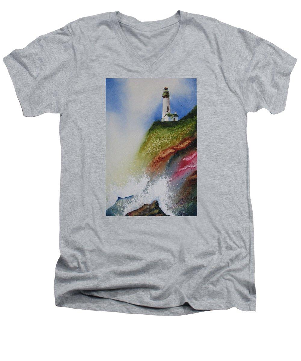 Lighthouse Men's V-Neck T-Shirt featuring the painting Surfside by Karen Stark