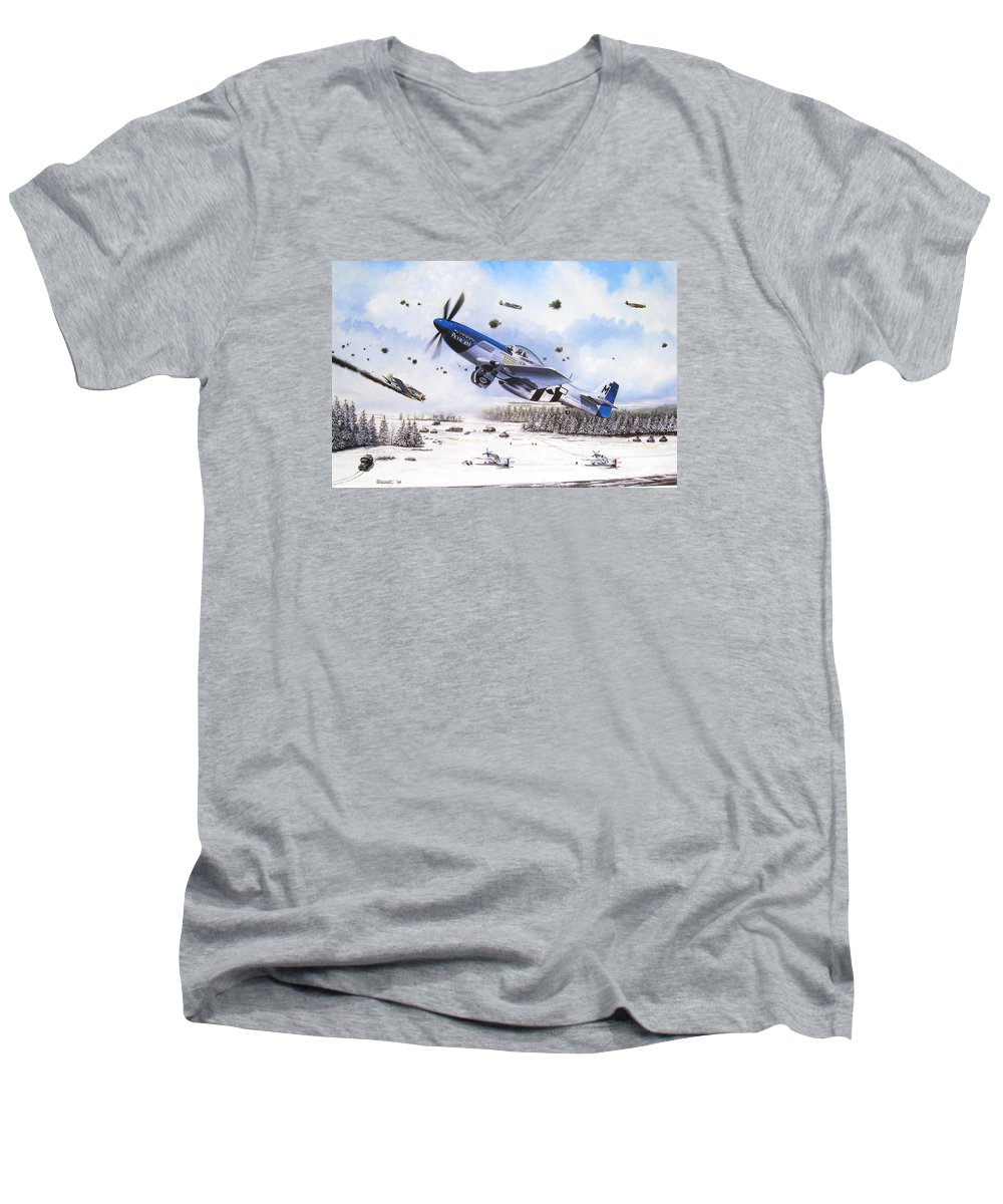 Aviation Men's V-Neck T-Shirt featuring the painting Surprise At Asch by Marc Stewart