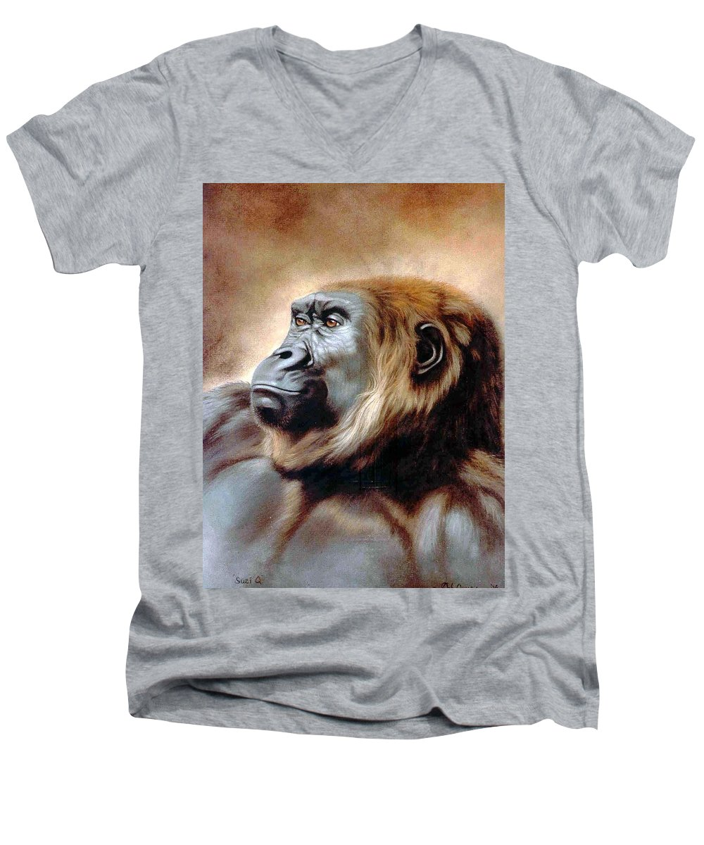 Gorilla Men's V-Neck T-Shirt featuring the painting Suzie Q by Deb Owens-Lowe