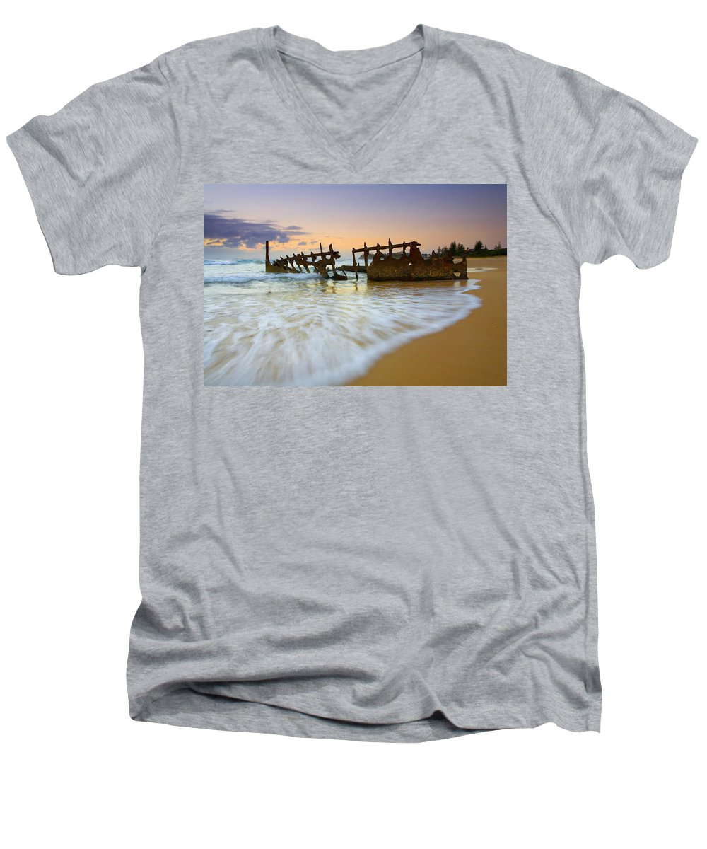 Shipwreck Men's V-Neck T-Shirt featuring the photograph Swallowed By The Tides by Mike Dawson