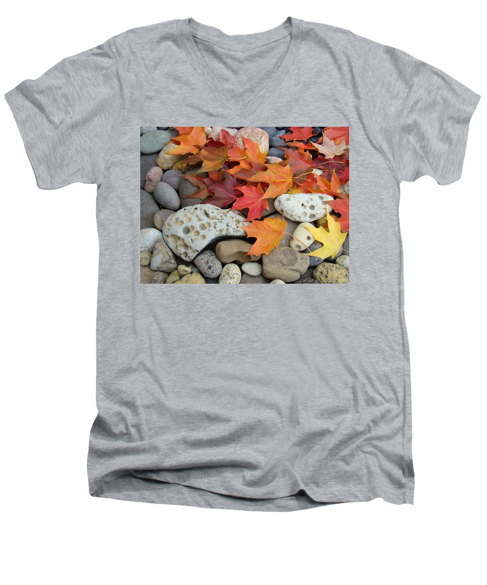 Art Men's V-Neck T-Shirt featuring the photograph Sweet Autumn 1 Autumn Leaves Rock Designs Photography Digital Art Prints by Baslee Troutman