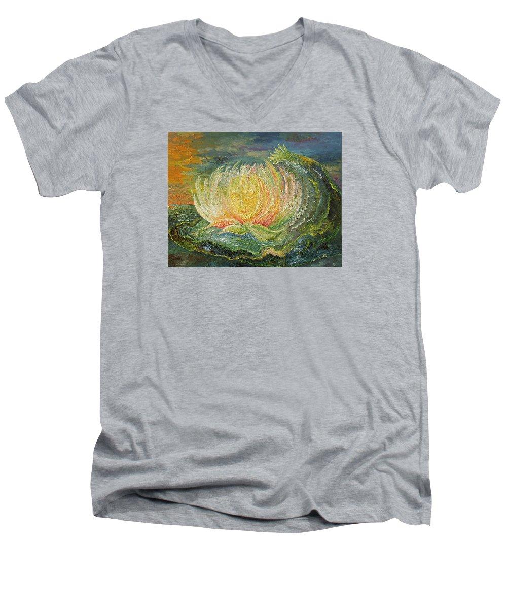 Flower Men's V-Neck T-Shirt featuring the painting Sweet Morning Dream by Karina Ishkhanova