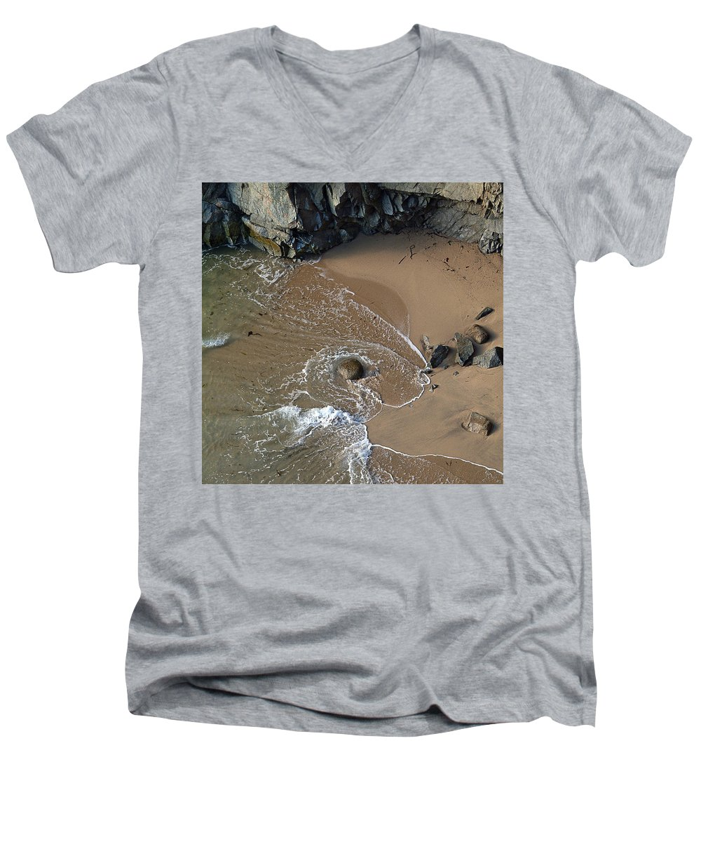 Big Sur Men's V-Neck T-Shirt featuring the photograph Swirling Surf And Rocks by Charlene Mitchell