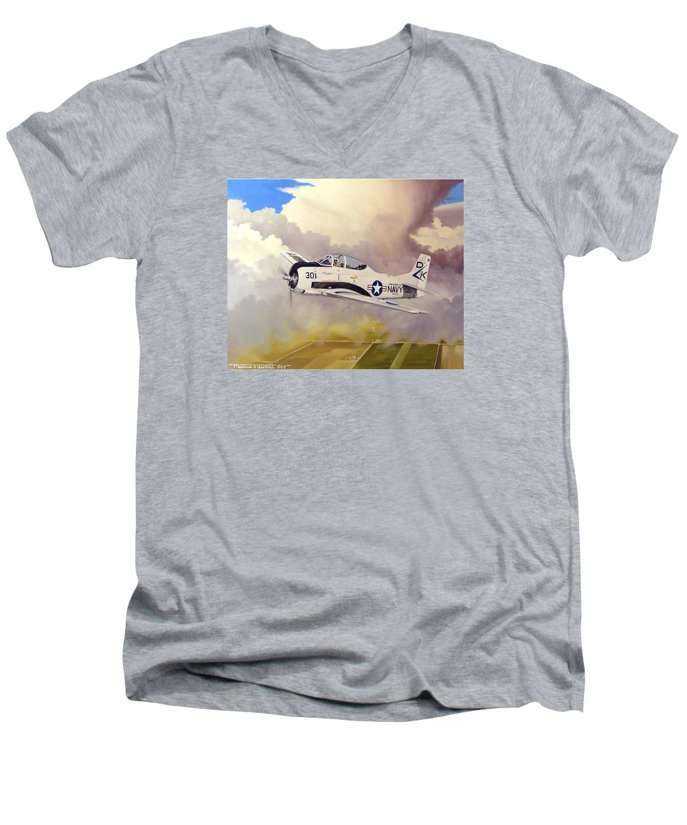 Military Men's V-Neck T-Shirt featuring the painting T-28 Over Iowa by Marc Stewart