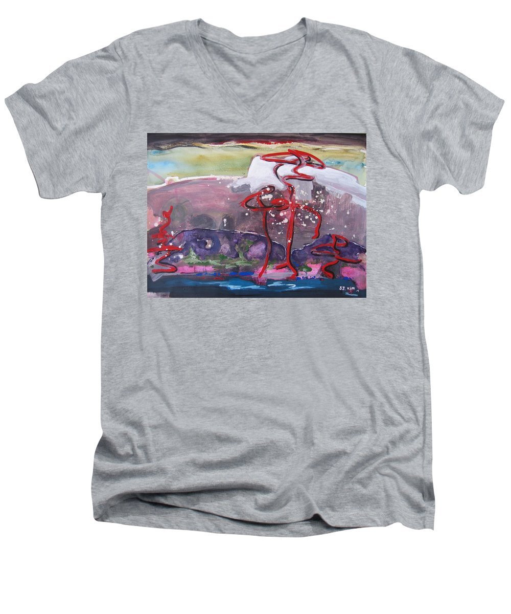 Abstract Paintings Men's V-Neck T-Shirt featuring the painting Table Land3 by Seon-Jeong Kim