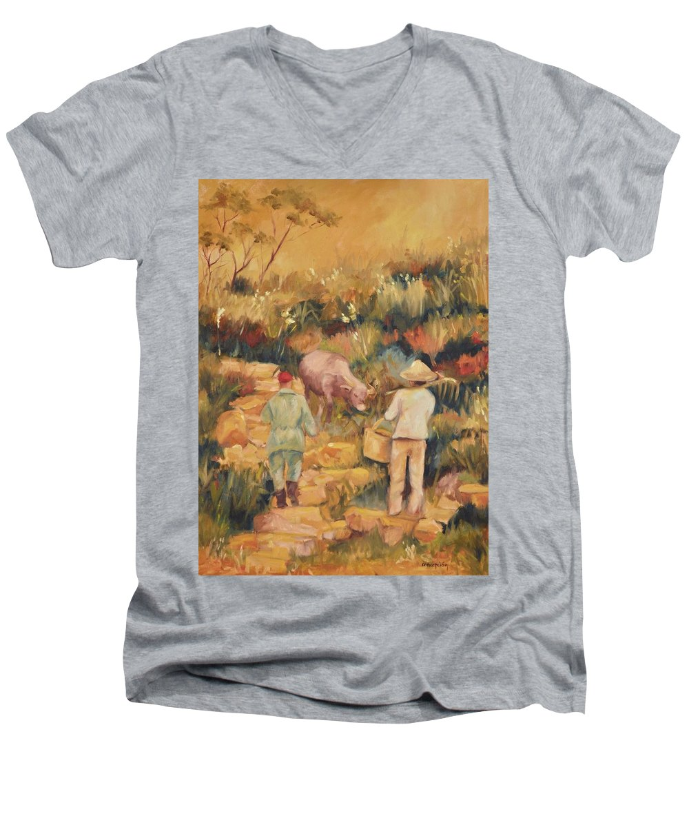 Water Buffalo Men's V-Neck T-Shirt featuring the painting Taipei Buffalo Herder by Ginger Concepcion