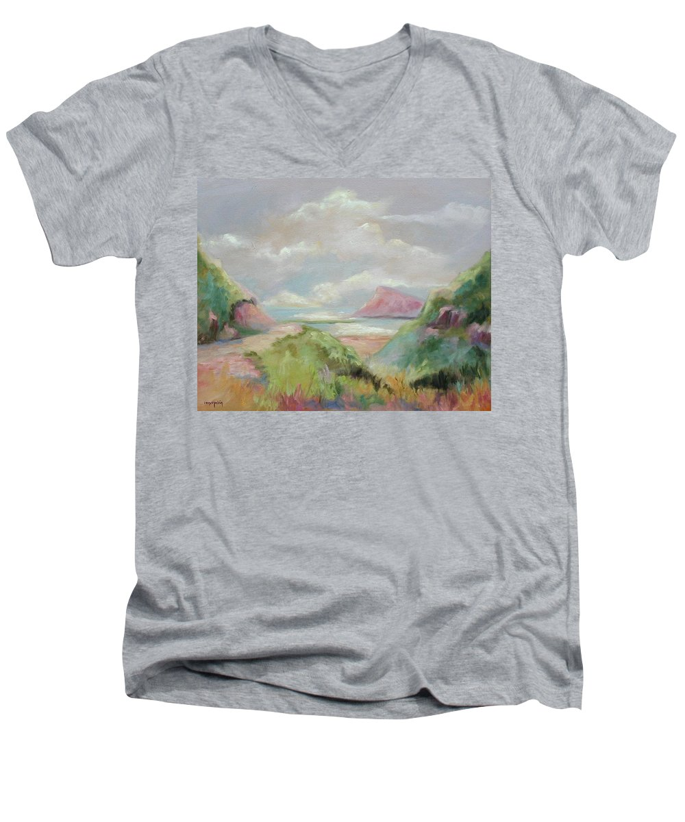 Seascape Men's V-Neck T-Shirt featuring the painting Taiwan Inlet by Ginger Concepcion