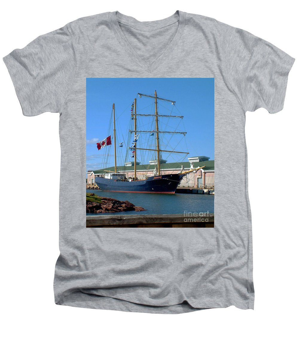 Dock Men's V-Neck T-Shirt featuring the photograph Tall Ship Waiting by RC DeWinter