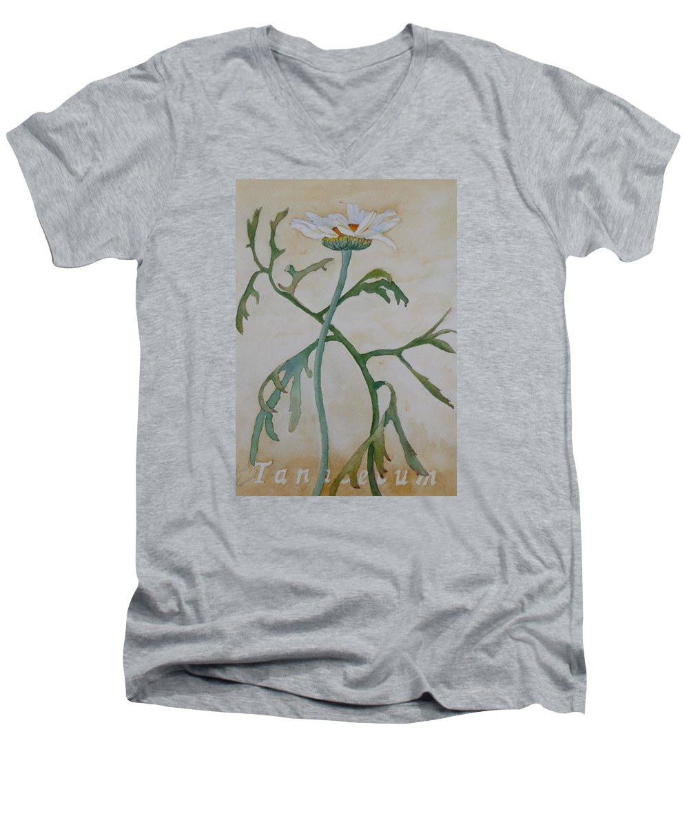 Flower Men's V-Neck T-Shirt featuring the painting Tanacetum by Ruth Kamenev