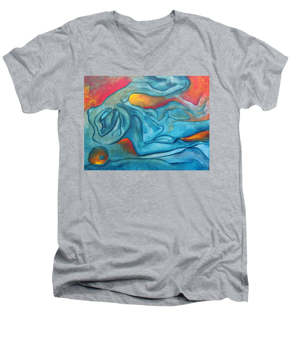 Abstract Blues Love Passion Sensual Earth Men's V-Neck T-Shirt featuring the painting Tangled Up by Veronica Jackson