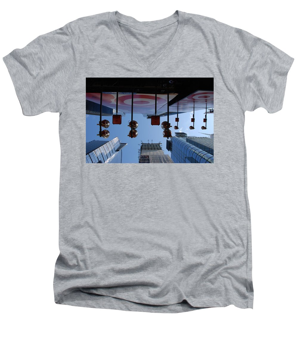 Architecture Men's V-Neck T-Shirt featuring the photograph Target Lights by Rob Hans