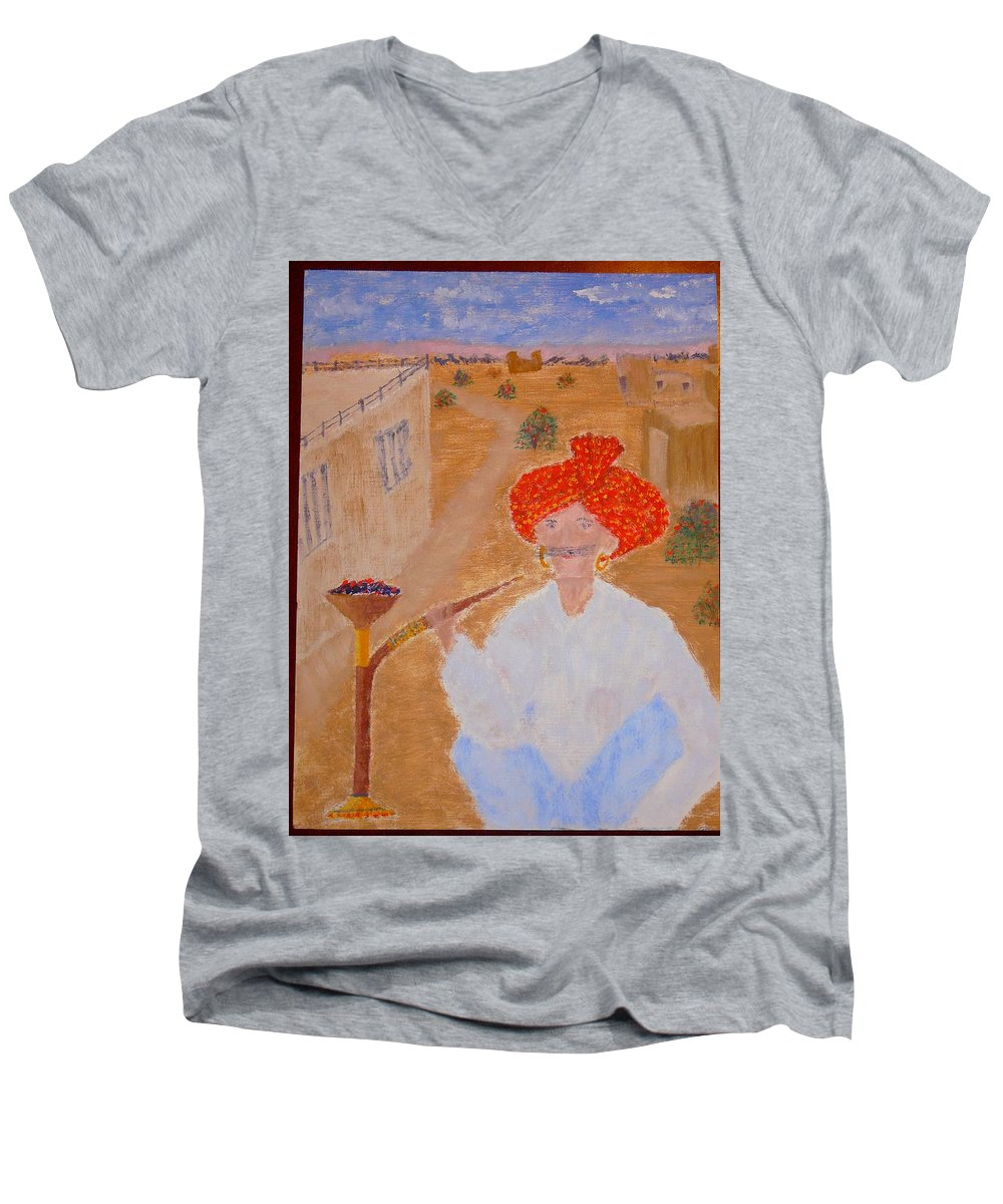 People Men's V-Neck T-Shirt featuring the painting Tau by R B