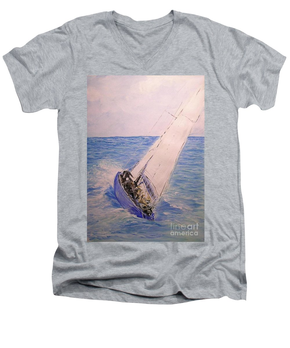 Seascape Men's V-Neck T-Shirt featuring the painting Tell Tails In The Wind by Lizzy Forrester
