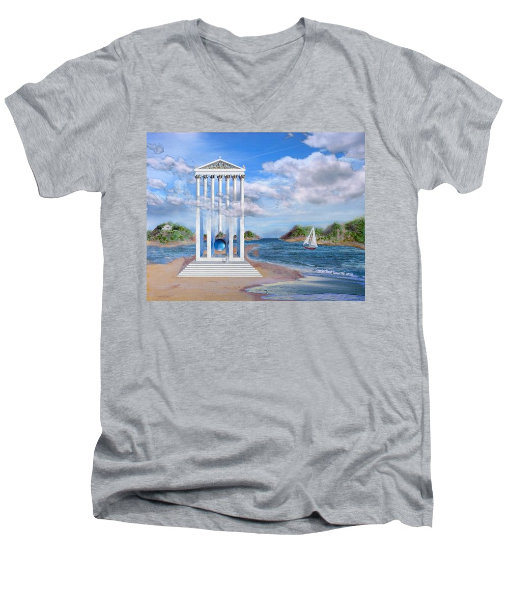 Landscape Men's V-Neck T-Shirt featuring the painting Temple For No One by Steve Karol