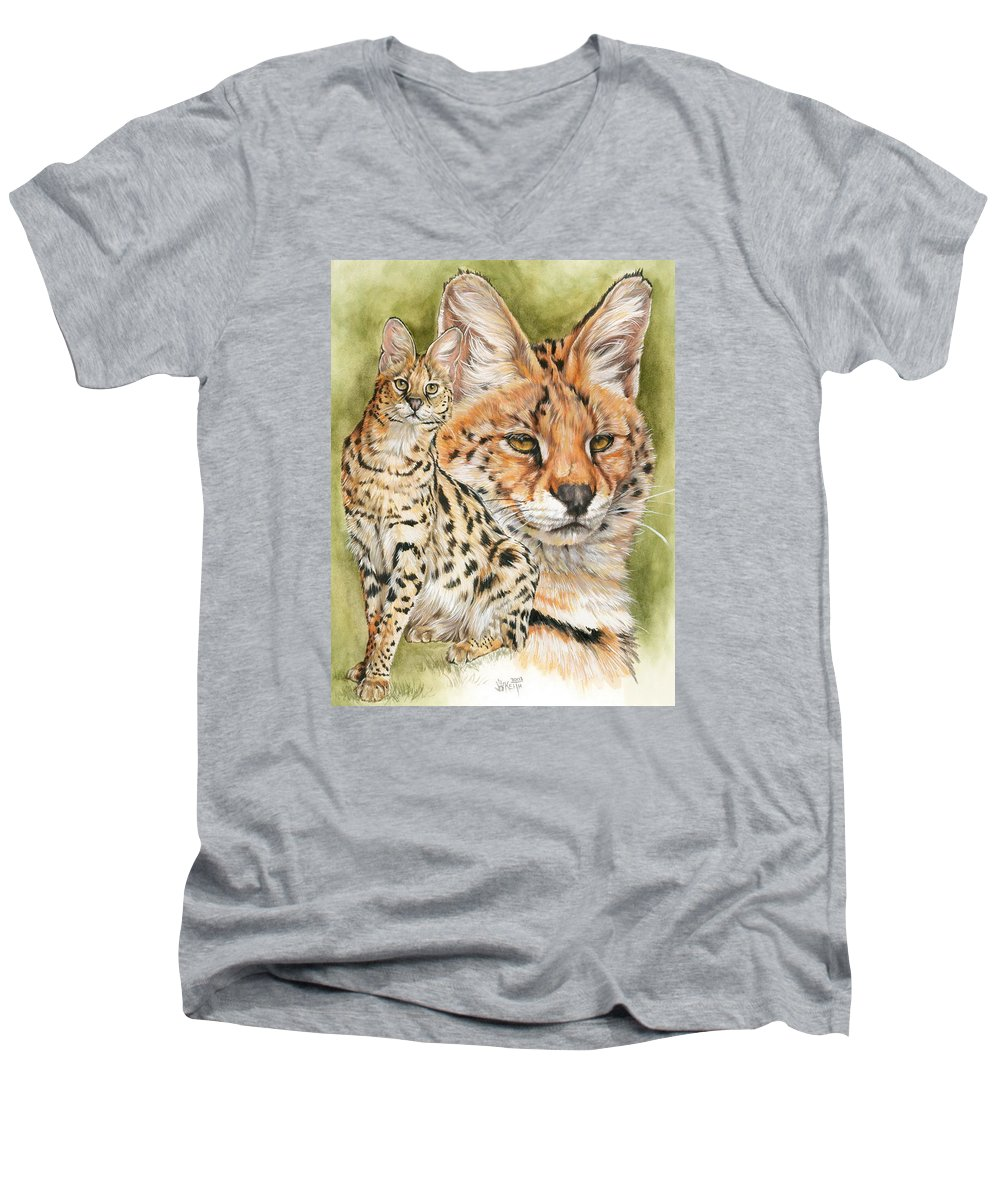 Serval Men's V-Neck T-Shirt featuring the mixed media Tempo by Barbara Keith