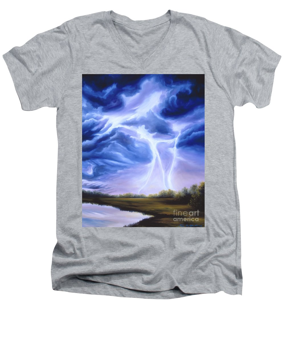 Marsh Men's V-Neck T-Shirt featuring the painting Tesla by James Christopher Hill