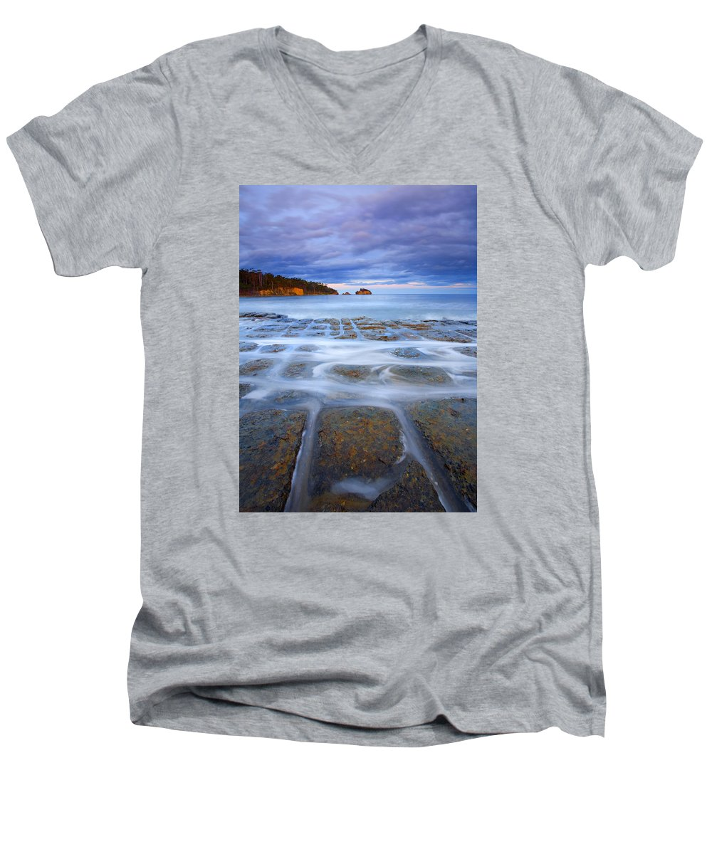 Sunset Men's V-Neck T-Shirt featuring the photograph Tesselated Sunset by Mike Dawson