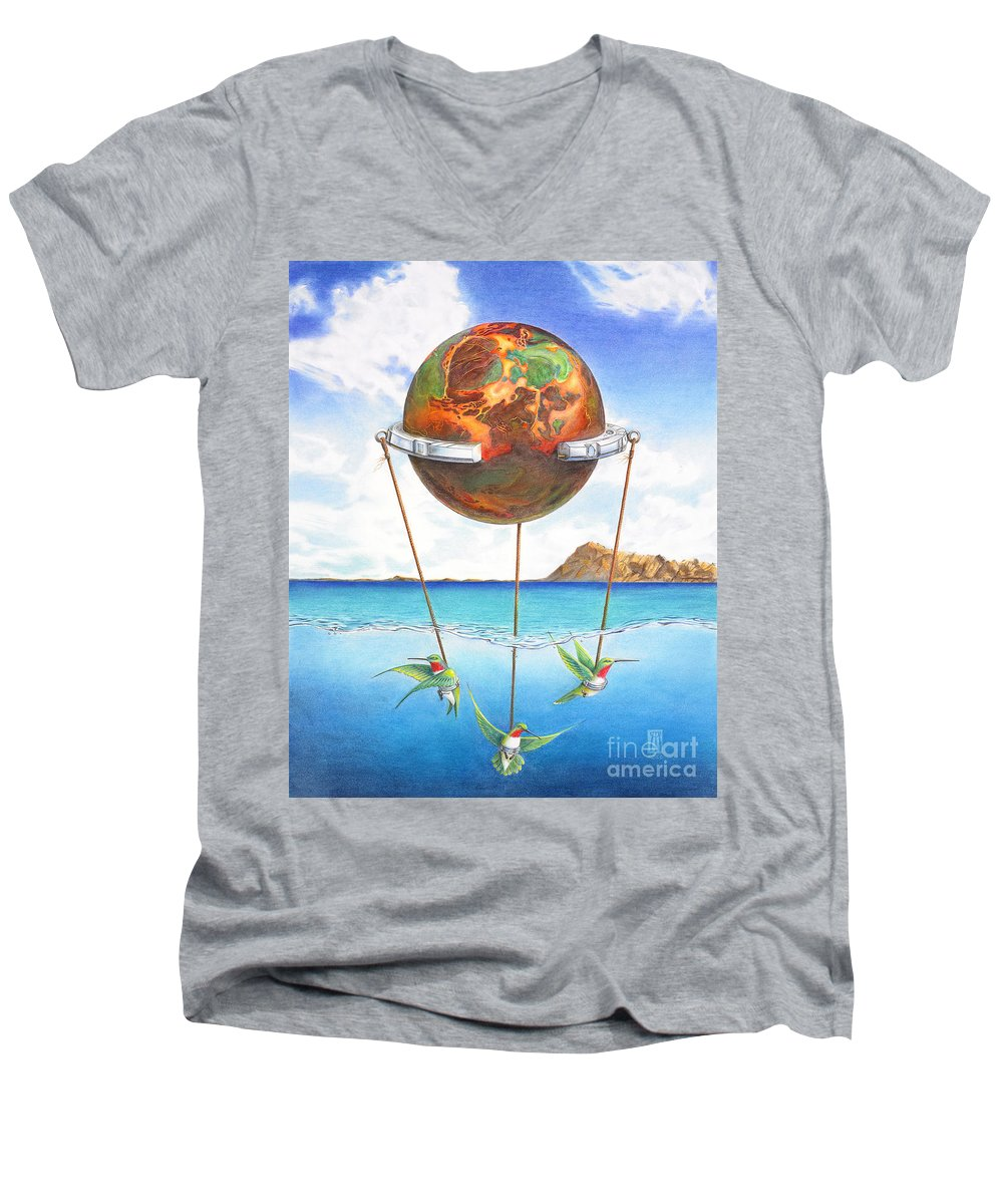 Surreal Men's V-Neck T-Shirt featuring the painting Tethered Sphere by Melissa A Benson