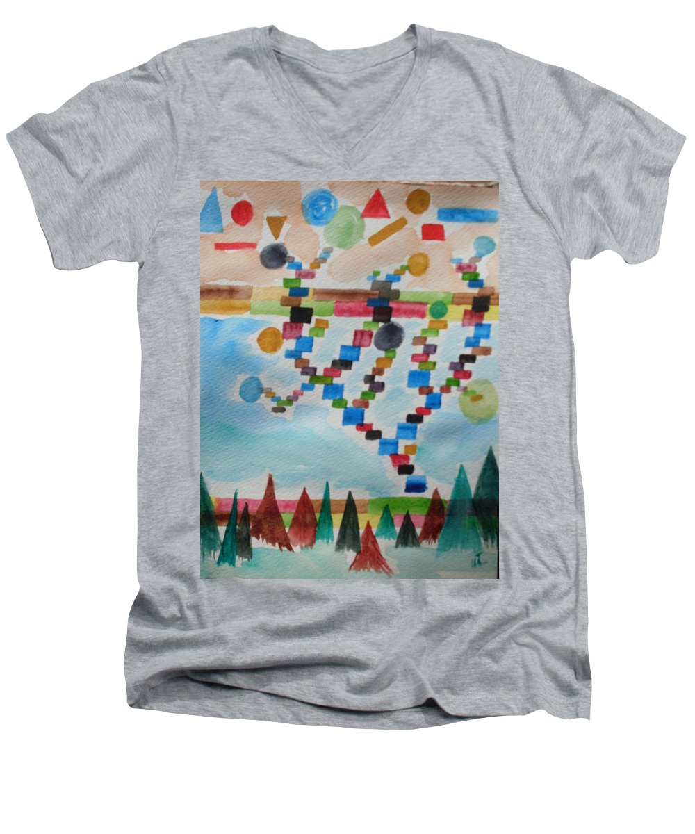 Abstract Men's V-Neck T-Shirt featuring the painting Tetrus Meets Nature by Warren Thompson