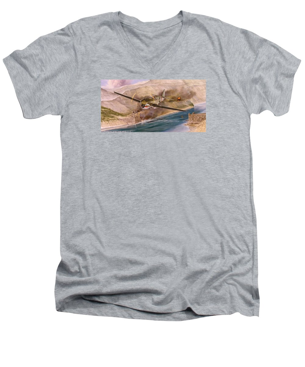 Painting Men's V-Neck T-Shirt featuring the painting Tex Hill Over The Salween Gorge by Marc Stewart