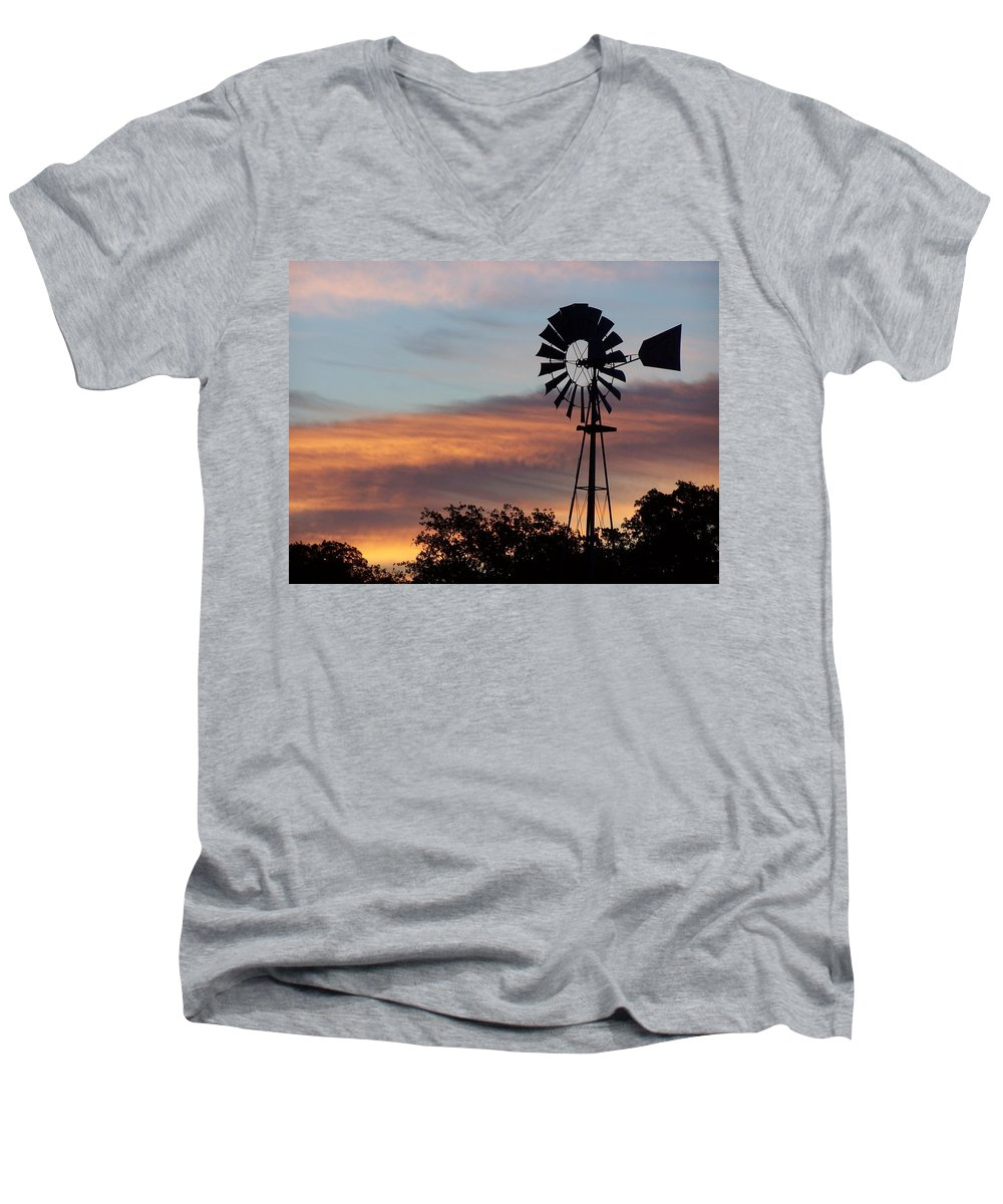 Windmill Men's V-Neck T-Shirt featuring the photograph Texas Sunrise by Gale Cochran-Smith