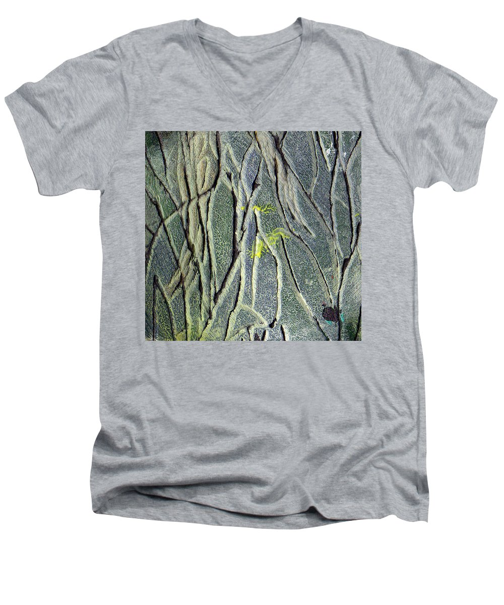 Abstract Men's V-Neck T-Shirt featuring the painting Texture Study One  Entanglement by Wayne Potrafka