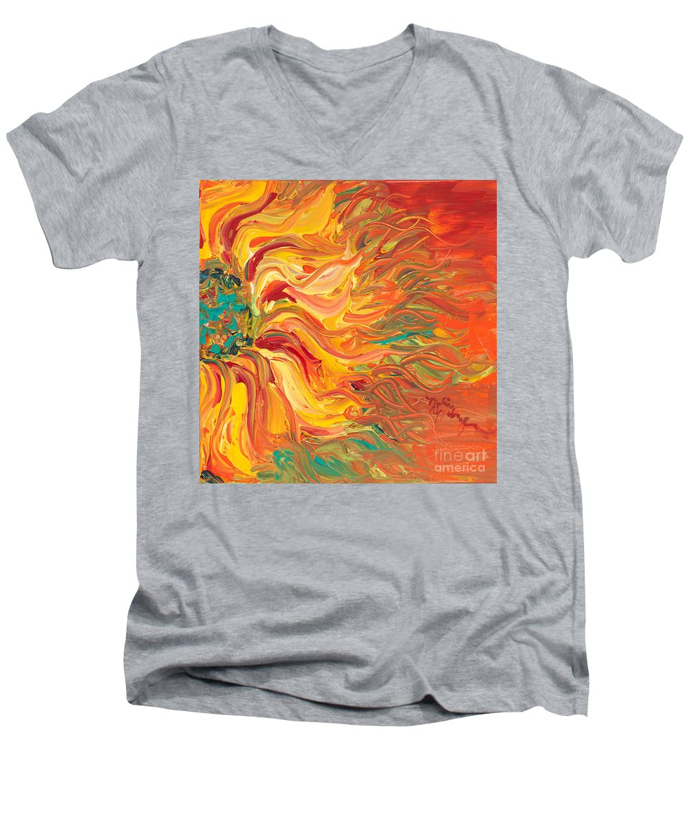 Sunjflower Men's V-Neck T-Shirt featuring the painting Textured Fire Sunflower by Nadine Rippelmeyer