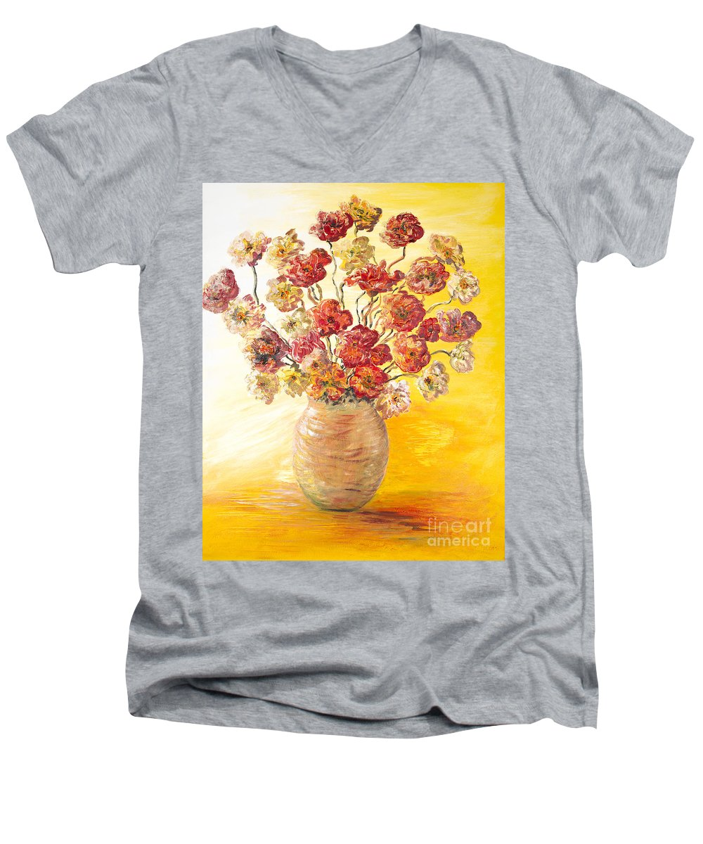Flowers Men's V-Neck T-Shirt featuring the painting Textured Flowers In A Vase by Nadine Rippelmeyer