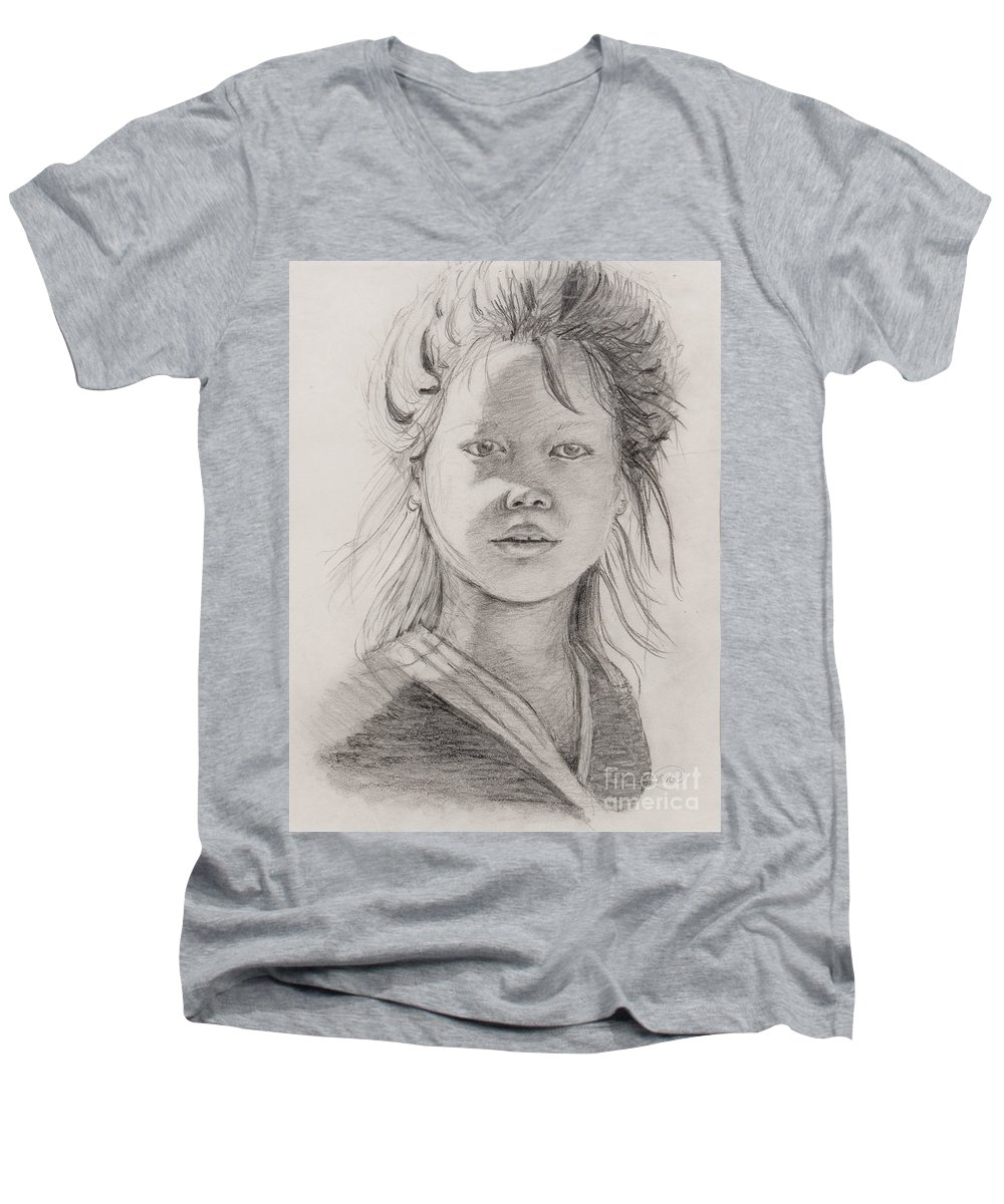 Portrait Men's V-Neck T-Shirt featuring the drawing Thai Beauty by Nadine Rippelmeyer