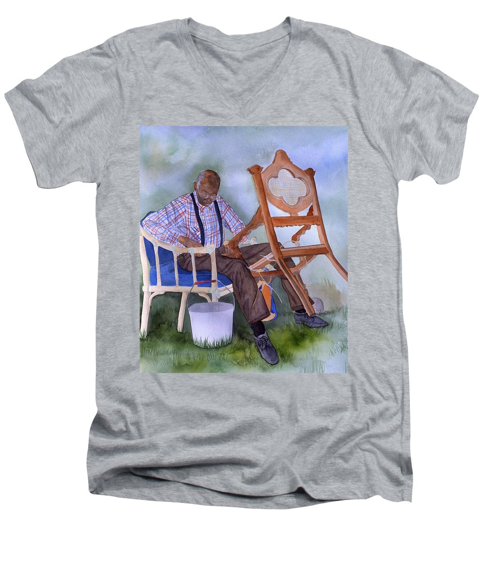 Portrait Men's V-Neck T-Shirt featuring the painting The Art Of Caning by Jean Blackmer