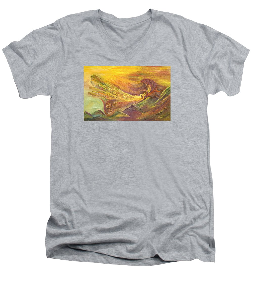 Autumn Men's V-Neck T-Shirt featuring the painting The Autumn Music Wind by Karina Ishkhanova
