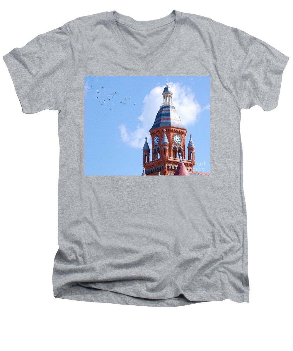 Clock Men's V-Neck T-Shirt featuring the photograph The Birds by Debbi Granruth