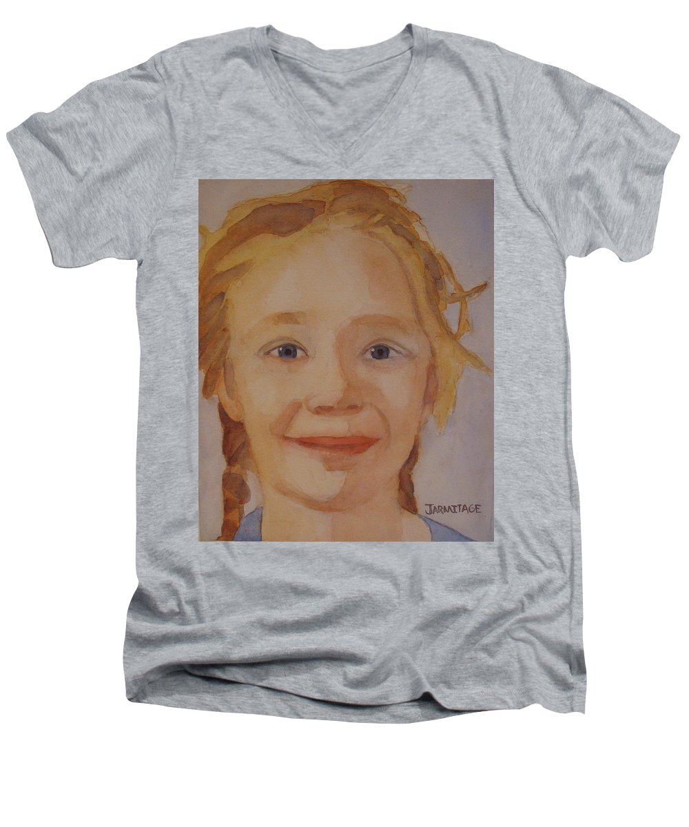 Partrait Men's V-Neck T-Shirt featuring the painting The Blue-eyed Duckling by Jenny Armitage